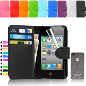 Flip Wallet Leather Case Cover For Apple iPhone 4 4S
