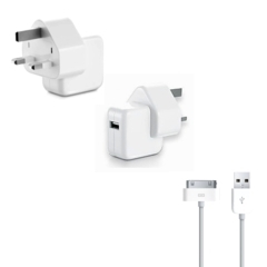 New Mains Wall Charger For Apple Ipod Touch Ipad 1,2 Iphone 3GS 4G 4S+ Cable UK