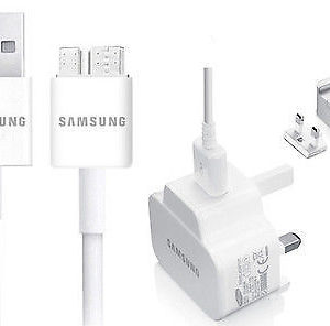 GENUINE Samsung GALAXY S5 & Note 3 Mains Charger Plug Head + USB 3.0 Data Cable