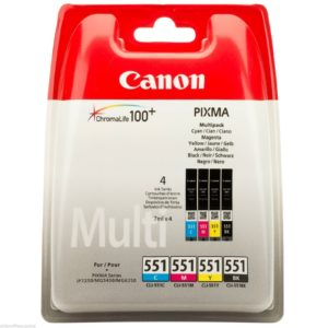 Genuine Canon BK/C/M/Y 4 Colour Ink Cartridge Multipack