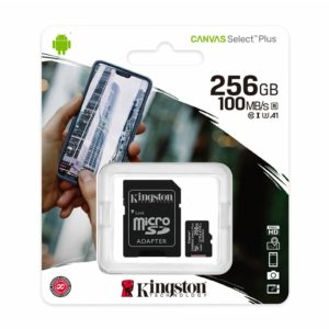 Genuine Kingston Canvas SelectPlus 256GB MicroSDXC card 100MB/s V30 with Adapter
